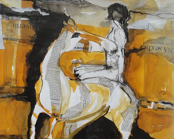Vrouw op paard: collage