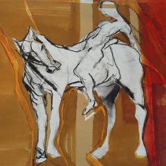 Paard en vrouw naderen elkaar